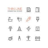 Home, Road Repair - Thin Line Icons Set