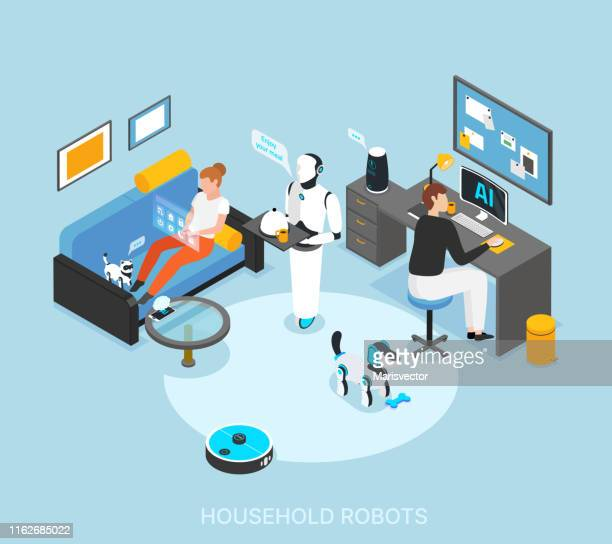 Home Robots Isometric Composition