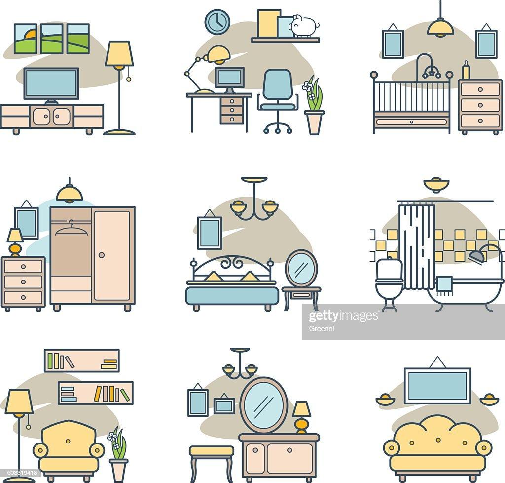 Home room icons set