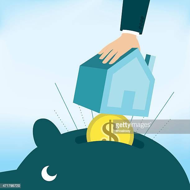 home savings account - house rental stock illustrations, clip art, cartoons, & icons