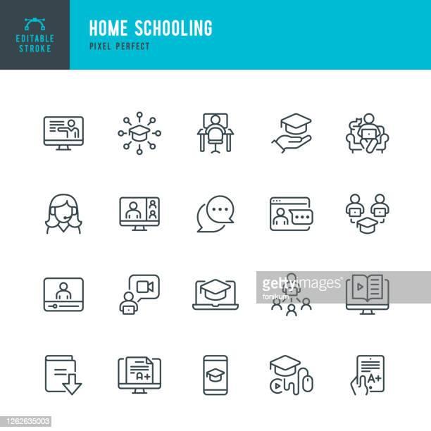 ホームスクーリング - 細線ベクトルアイコンセット。ピクセルパーフェクト。編集可能なストローク。セットには、eラーニング、宿題、ホームスクーリング、教育、卒業、ウェビナーなどの - セミナー点のイラスト素材/クリップアート素材/マンガ素材/アイコン素材