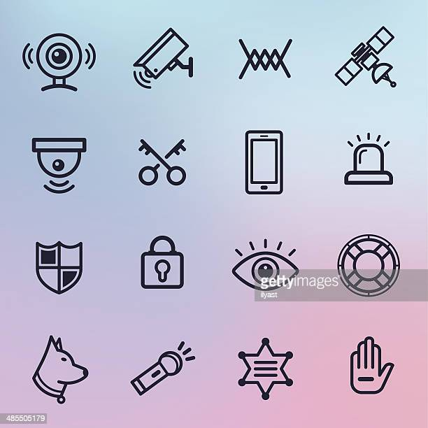 home security line icons - security camera stock illustrations