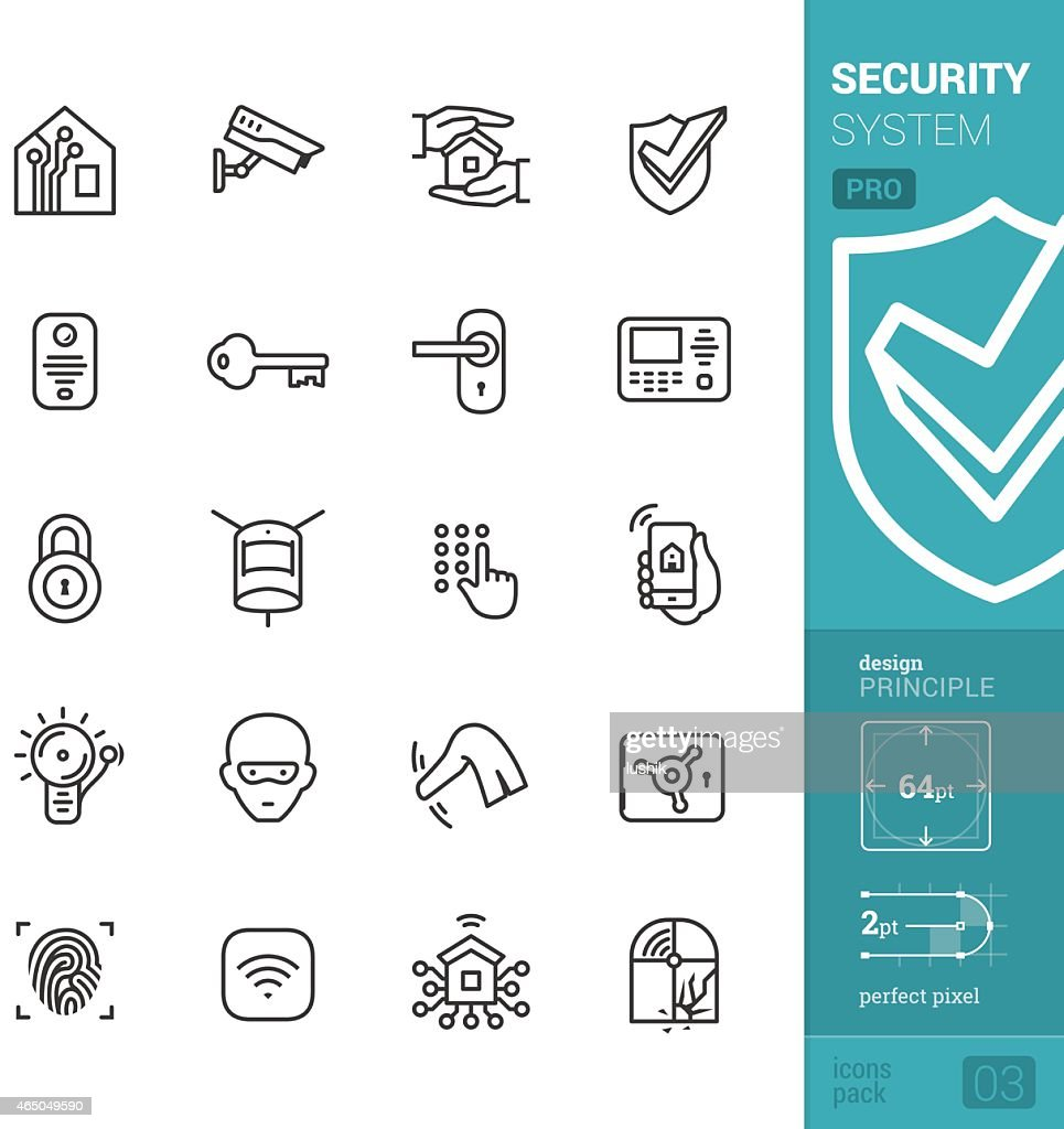 Home security system vector icons - PRO pack : stock illustration
