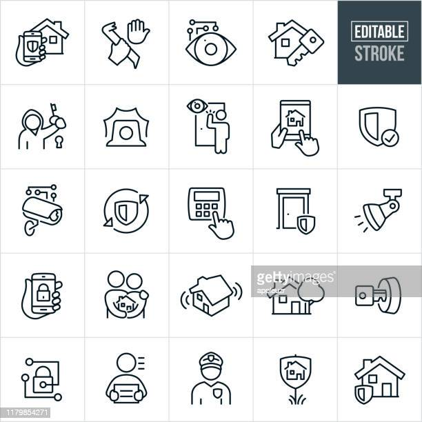 home security thin line icons - editable stroke - security camera stock illustrations