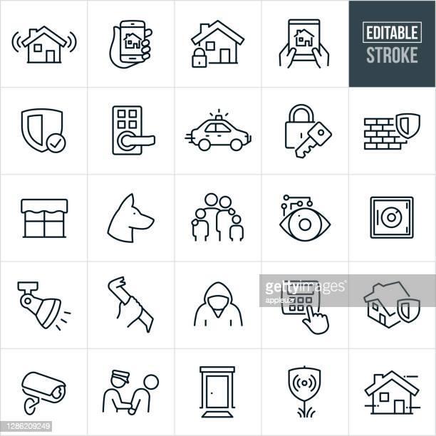 illustrations, cliparts, dessins animés et icônes de icônes de la ligne mince de sécurité à la maison - course modifiable - protection