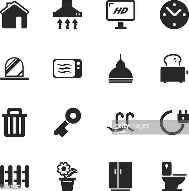 home silhouette icons - exhaust fan stock illustrations, clip art, cartoons, & icons