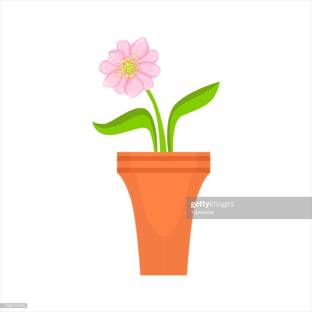 Home Single Pink Flower In The Flowerpot, Flower Shop Decorative Plants Assortment Item Cartoon Vector Illustration
