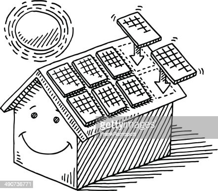 Home Solar Panel Roof Sun Energy Drawing Vector Art