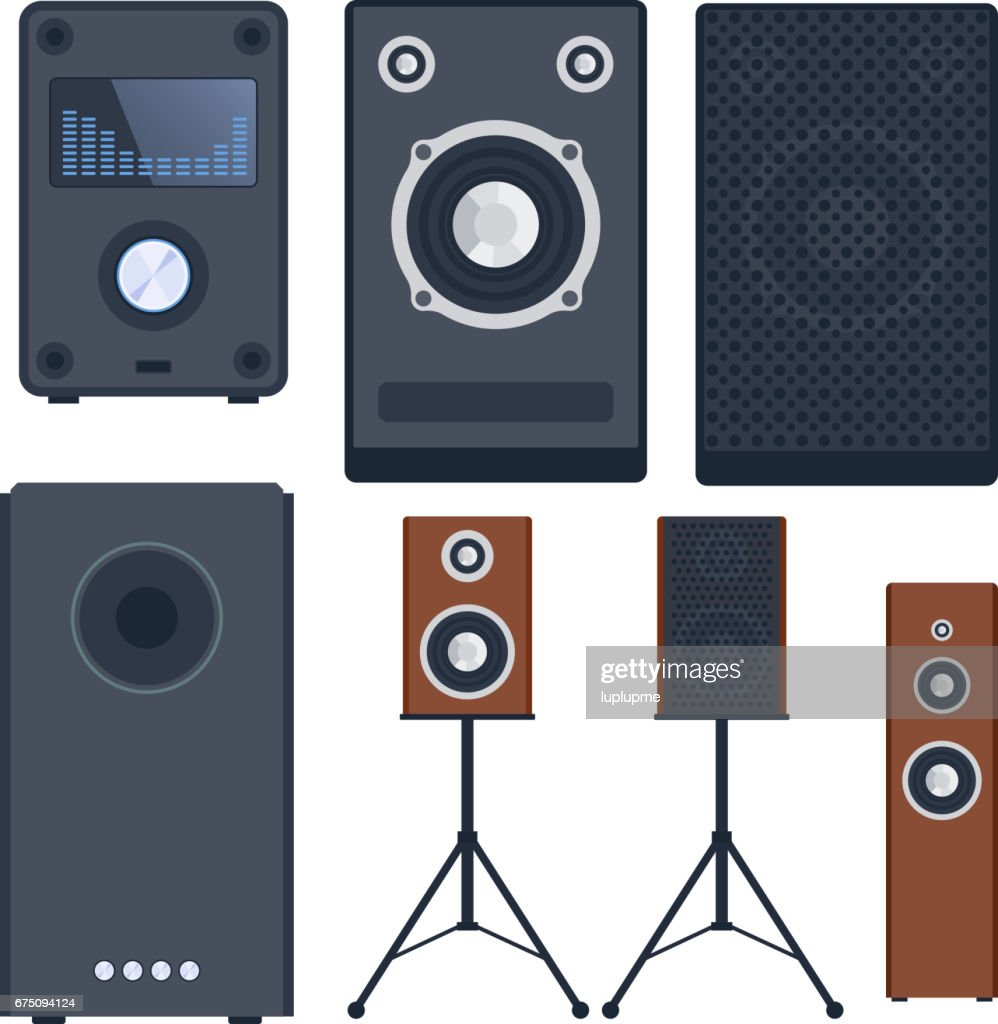 Home Sound System Stereo Flat Vector Music Loudspeakers