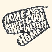 Home Sweet Home lettering on a mittens for cooking. Vector illustration.