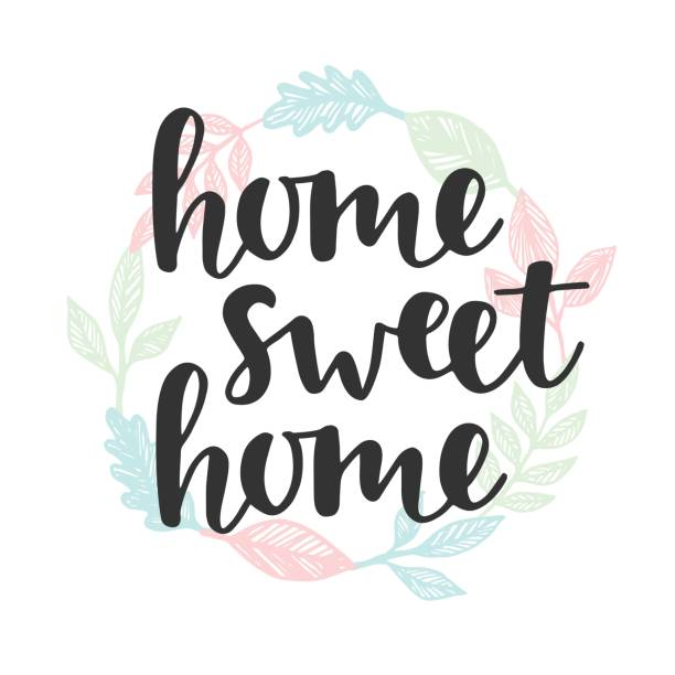 Home sweet home quote. Handwritten lettering