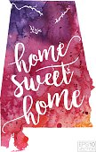 Home Sweet Home Vector Watercolor Map of Alabama