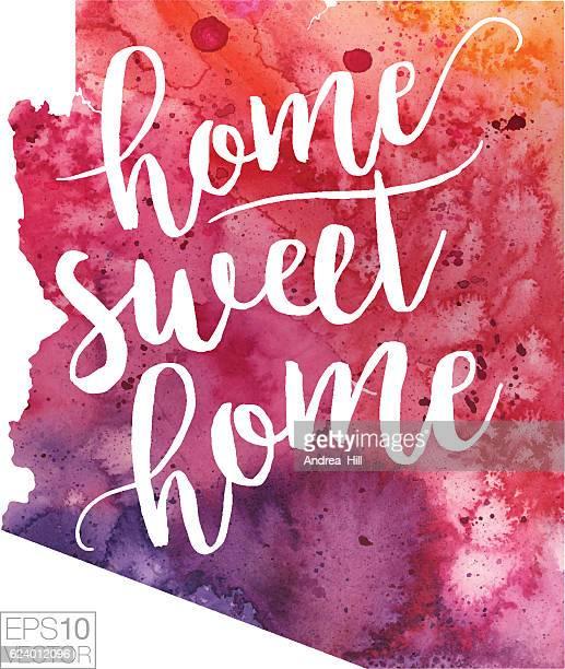 Home Sweet Home Vector Watercolor Map of Arizona