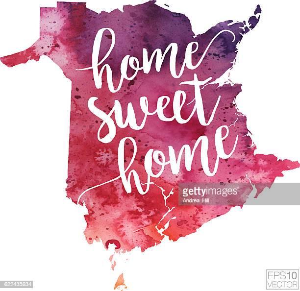 ホームスウィートホームベクター水彩図 ニューブランズウィック州 - ニュージャージー州ニューブランズウィック点のイラスト素材/クリップアート素材/マンガ素材/アイコン素材