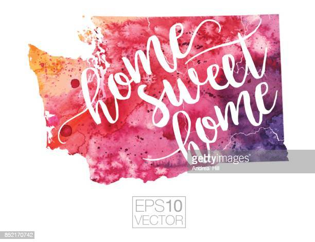 Home Sweet Home Vector Watercolor Map of Washington State