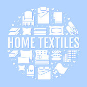 Home textiles circle template with flat glyph icons. Bedding, bedroom linen, pillows, sheets set, blanket and duvet silhouette illustrations. Blue white signs for interior store