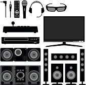 Home Theater in Silhouette Vector