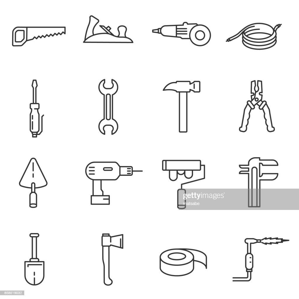 home tools icons set. Editable stroke.