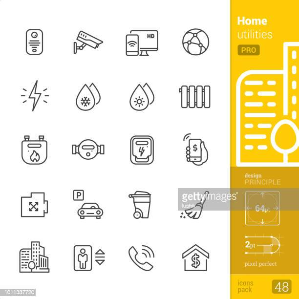 home utilities, outline icons - pro pack - water meter stock illustrations, clip art, cartoons, & icons