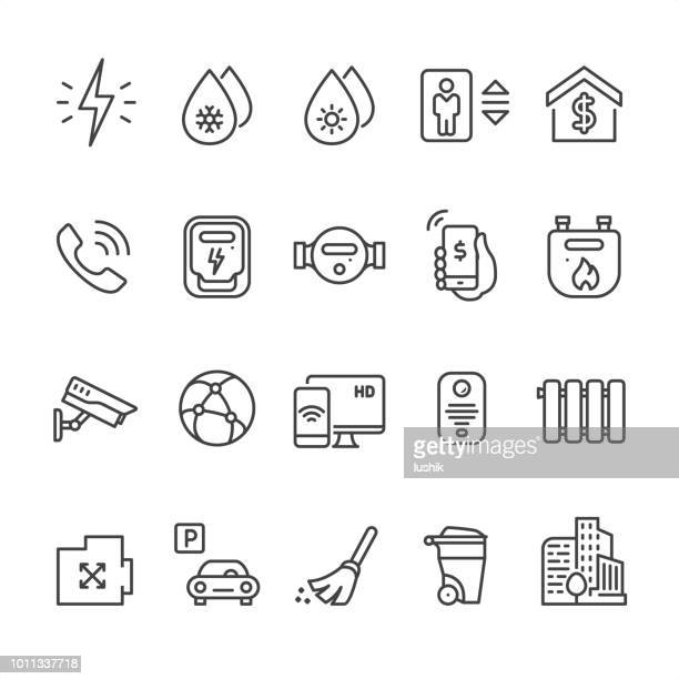 home utilities - outline vector icons - security camera stock illustrations