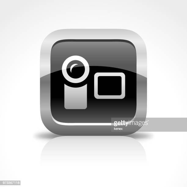Home Video Camera glanzende knoppictogram