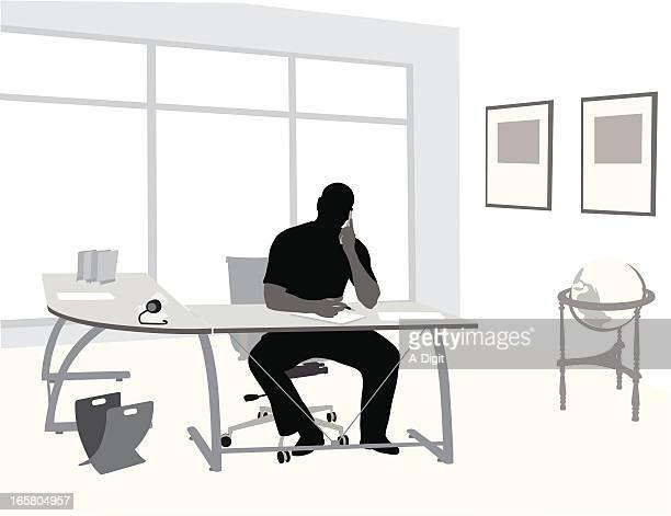 home work vector silhouette - desk organizer stock illustrations, clip art, cartoons, & icons