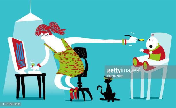 赤ちゃんを養うホームワーキングシングルママ - 在宅勤務点のイラスト素材/クリップアート素材/マンガ素材/アイコン素材