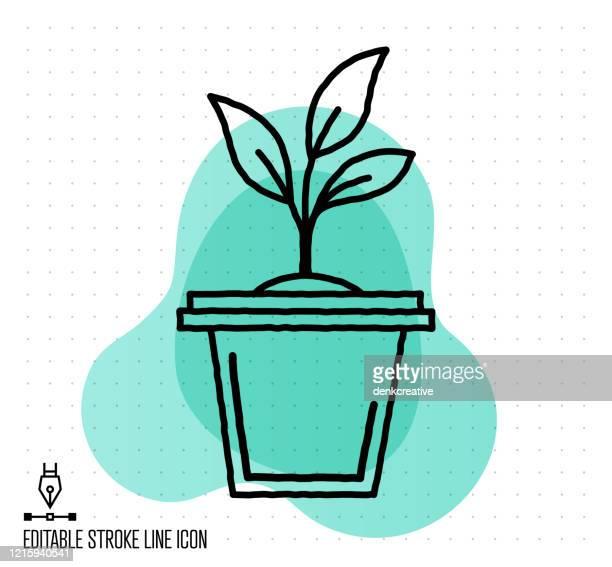 ilustrações, clipart, desenhos animados e ícones de ilustração da linha de edição do vetor de vegetais caseiros - produto local