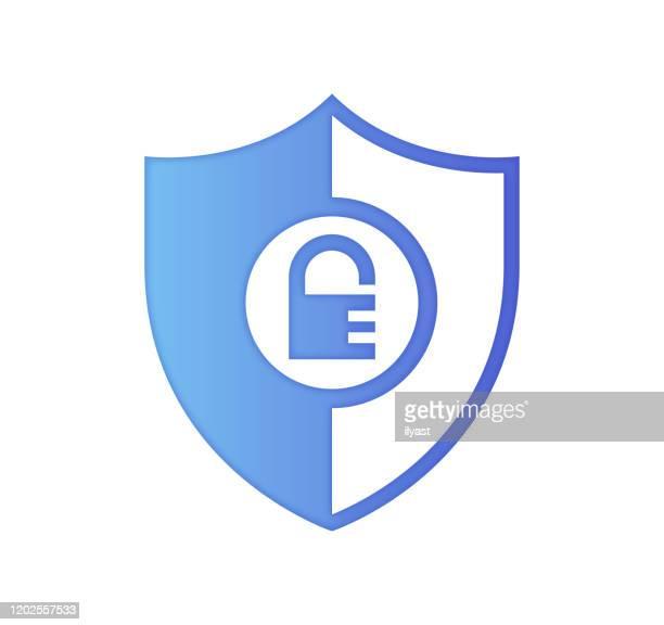 国土安全保障グラデーションカラー&紙カットスタイルのアイコンデザイン - 盾点のイラスト素材/クリップアート素材/マンガ素材/アイコン素材