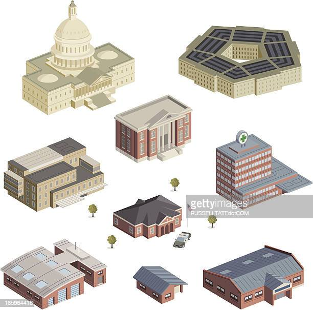 homeland services - government building stock illustrations