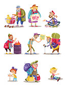 Homeless and beggars people vector cartoon illustration of woman, man and child begging for money and food