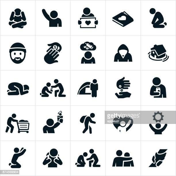 homeless icons - addiction stock illustrations, clip art, cartoons, & icons