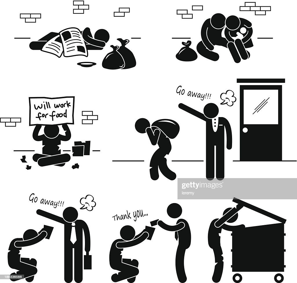 Homeless Man Family Beggar Jobless Pictogram