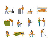 Homeless man flat illustration set