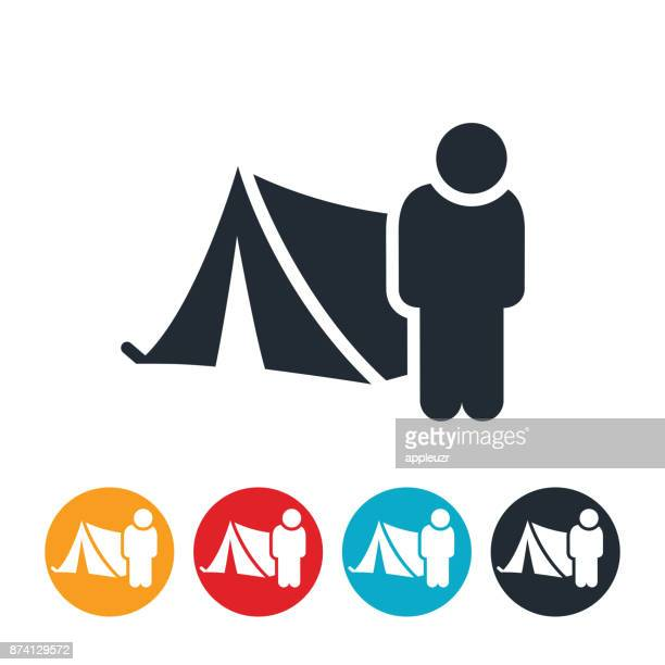 homeless person and tent icon - tent stock illustrations, clip art, cartoons, & icons