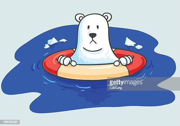 illustrations, cliparts, dessins animés et icônes de sans-abri ours polaire avec une balise de casier à vie - ours polaire
