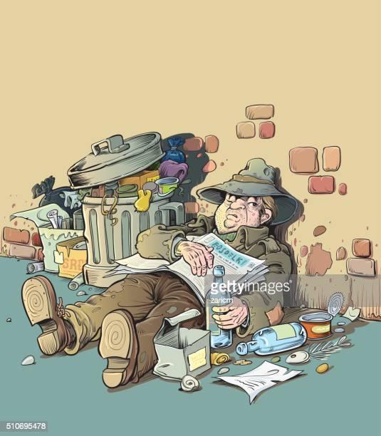 homeless - vagabond stock illustrations, clip art, cartoons, & icons