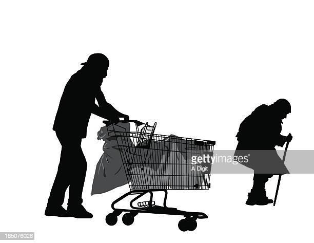 homeless vector silhouette - vagabond stock illustrations, clip art, cartoons, & icons
