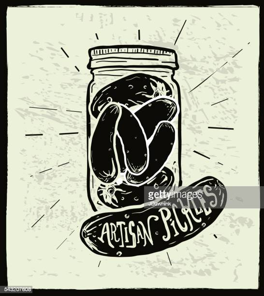 homemade artisan pickle jar with hand lettered label design - pickled stock illustrations