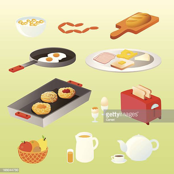 homemade breakfast icons - breakfast cereal stock illustrations, clip art, cartoons, & icons