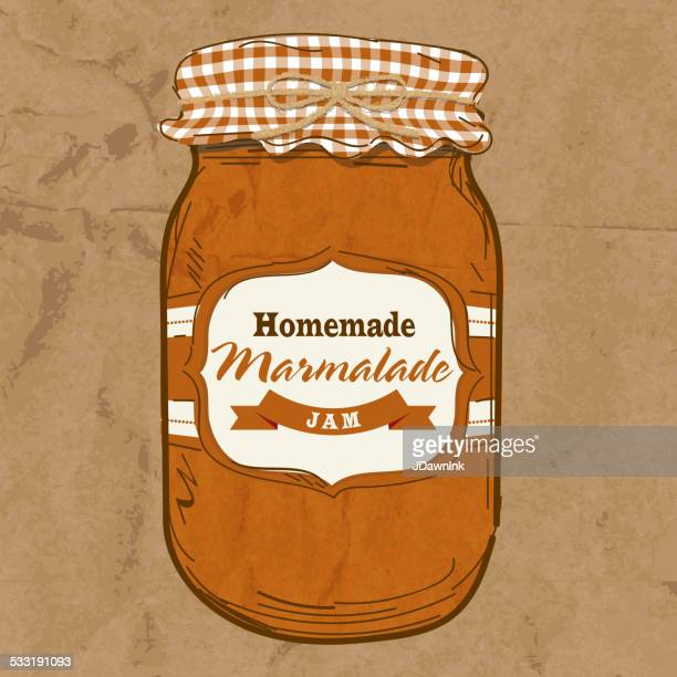 Homemade Marmalade mason jar with checkered top
