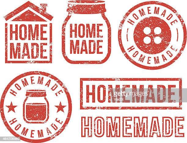 stockillustraties, clipart, cartoons en iconen met homemade - rubber stamps - zelfgemaakt