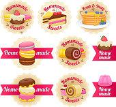 Homemade sweets labels badges set