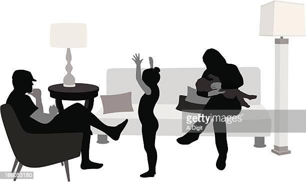 ilustraciones, imágenes clip art, dibujos animados e iconos de stock de casa'nfamily - lactancia materna