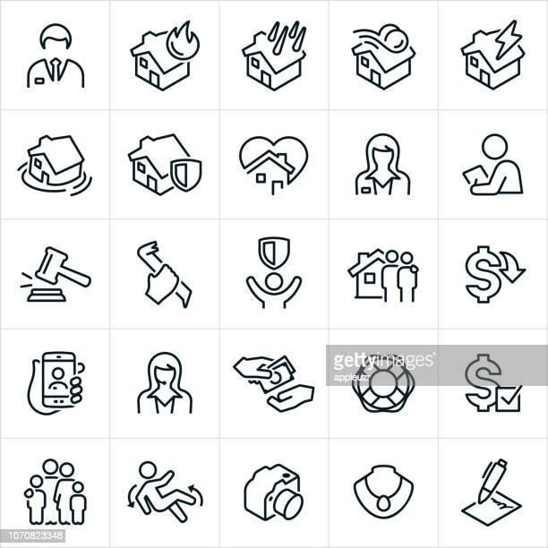 ilustrações, clipart, desenhos animados e ícones de ícones de seguros de imóveis - formulário de pedido