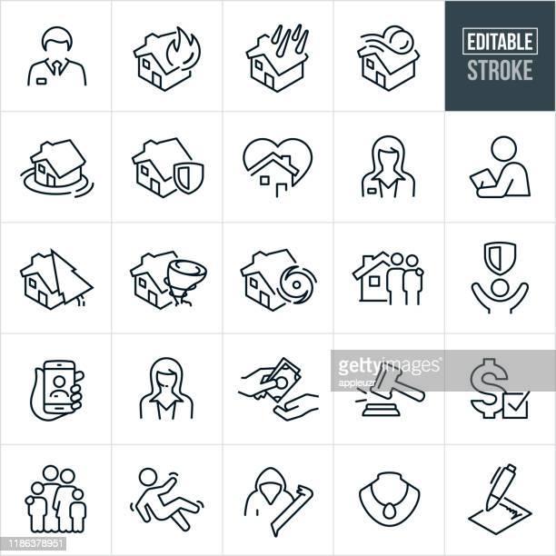 homeowners insurance thin line icons - editable stroke - insurance stock illustrations