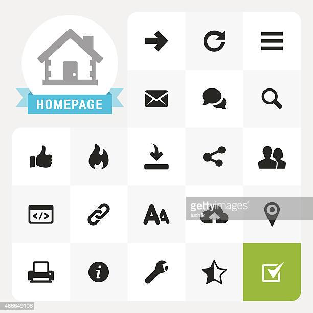 homepage base vector icons and label - information symbol stock illustrations, clip art, cartoons, & icons