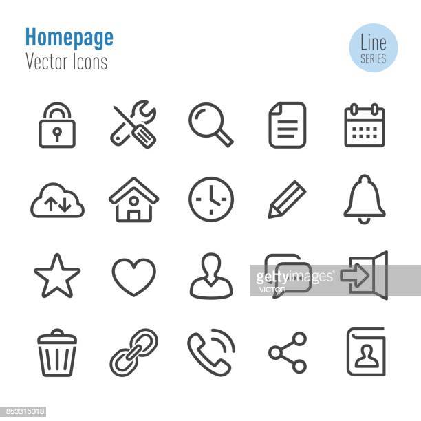 homepage icons - vector line series - heart shape stock illustrations