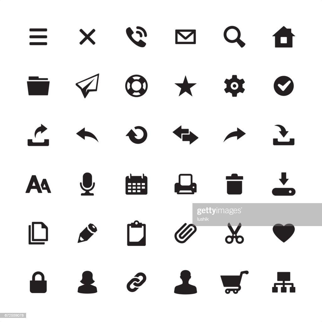 インターフェイスのホームページのデザインに必要なアイコン セット : ストックイラストレーション