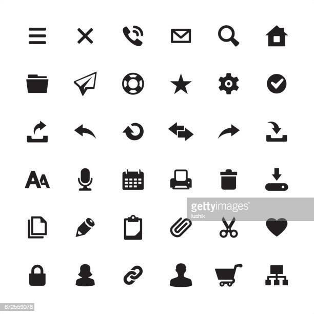 homepage interface design required icons set - e mail inbox stock illustrations